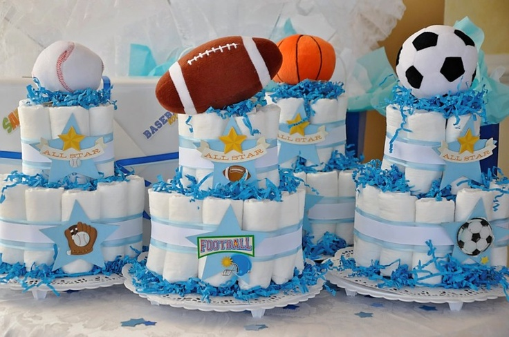 "Sports theme diaper cakes for a ""Little Sport"" baby shower"