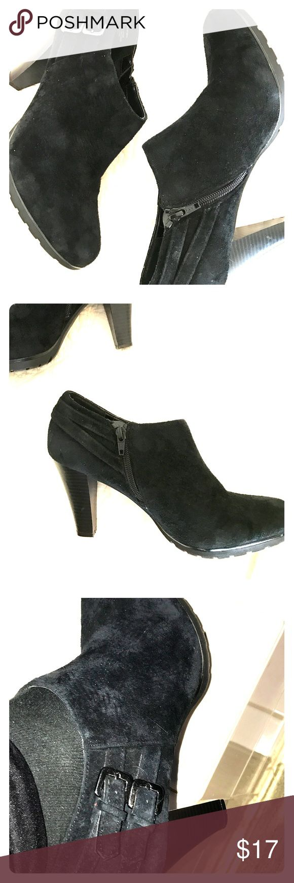 White mountain Shoe tees Black suede  👠. Leather uppers. Side zipper. Two buckles on the side. Approximate 3 1/2 inch heels. Barely worn. white mountain Shoes Ankle Boots & Booties