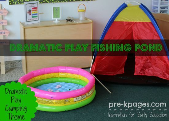 Dramatic Play Fishing Pond in #Preschool for camping theme