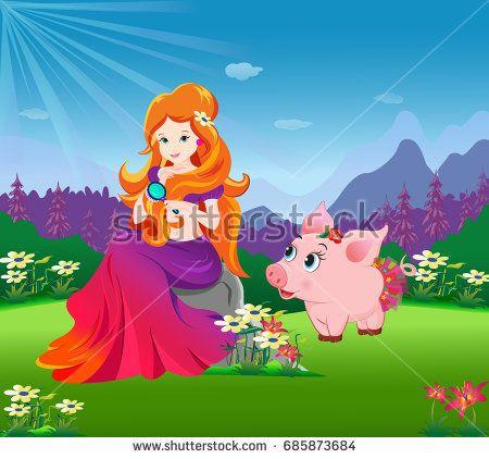 pretty princess in garden with cute little piglet