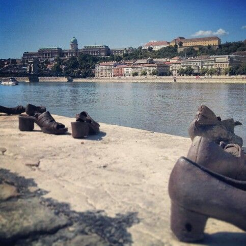 Spent our second morning at Shoes on the Danube. Jewish war memorial near the Parliament. Climbed down to see it.