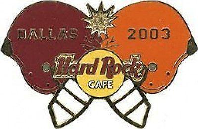 Hard Rock Cafe DALLAS 2003 Texas/OU Game PIN Helmets Clashing HRC Catalog #20109