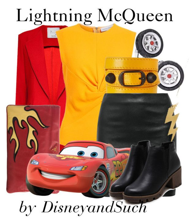 """Lightning McQueen"" by disneyandsuch ❤ liked on Polyvore featuring Hebe Studio, Jan Leslie, Narciso Rodriguez, Balenciaga, The Row, Prada, disney, disneybound, cars and WhereIsMySuperSuit"