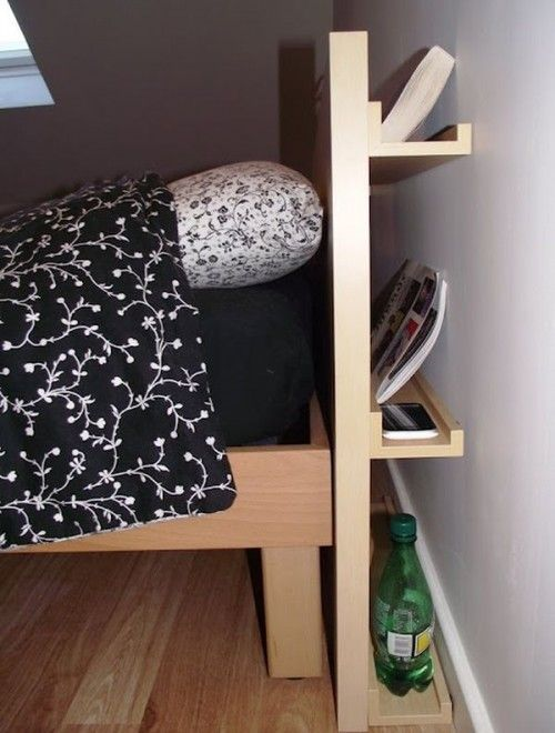 If you do not have enough room for nightstands, here's a great sollution. A headboard with open shelves and a hidden pull-out storage unit with casters. What do you think ? A headboard like this can be found in IKEA stores…   Source: goodshomedesign