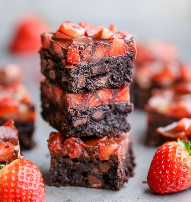 Chocolate Covered Strawberry Brownies   11 Dinner & Dessert Gluten Free Recipes   A Delicious Way To Enjoy Healthy Food by Homemade Recipes at http://homemaderecipes.com/11-gluten-free-recipes-dinner-dessert/