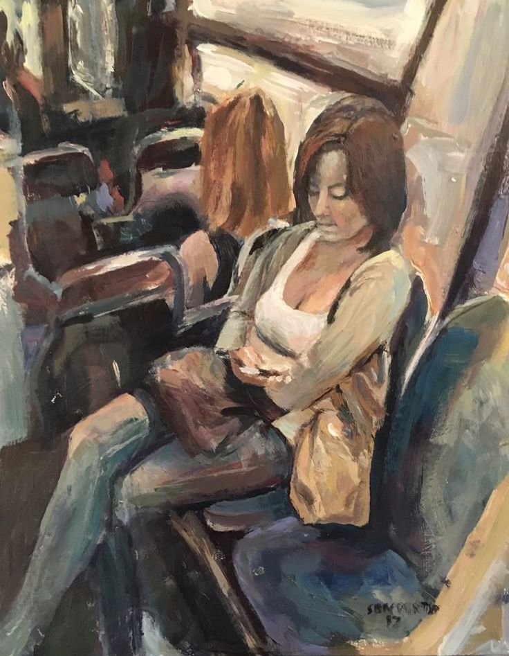 Original Painting collected Artist Samuel Burton Texting on the Train Woman art  | eBay