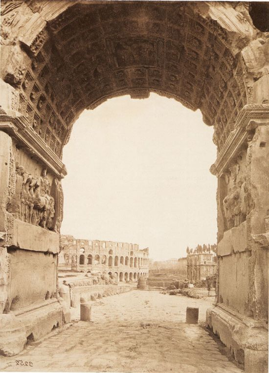 Rome, le Colysée et l'arc de Constantin vus depuis l'arc de Titus | Vers 1875