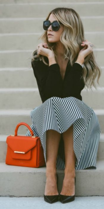 Cara Loren Van Brocklin + black wrap top + black and white striped flared midi skirt + black leather pointed pumps  Skirt: Windsor, Top: Shopbop, Shoes: The Cammeo. Spring Outfits