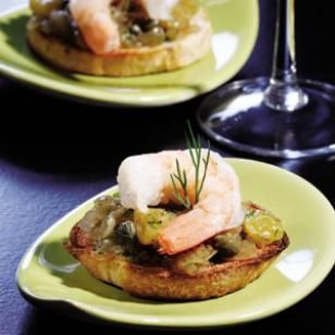 Try this tasty appetizer for 100-Calories per serving. Caramelized Onion & Shrimp Bruschetta-- Caramelized onion and golden raisins add sweet balance to shrimp in this easy bruschetta. It can be assembled in just a few minutes if you make the onion spread ahead of time.