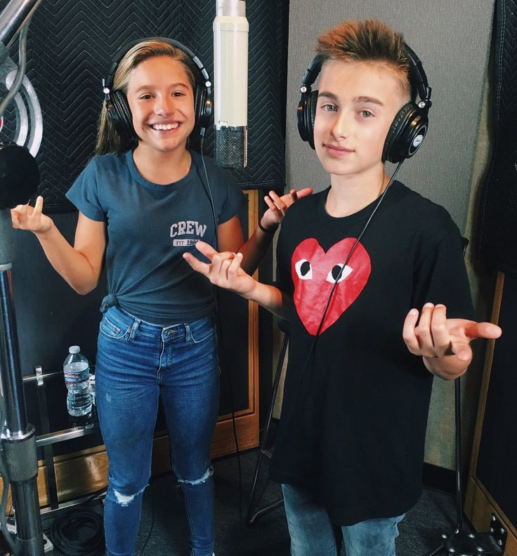 "Johnny Orlando and Mackenzie Ziegler recording their new song "" Day and Night!"""
