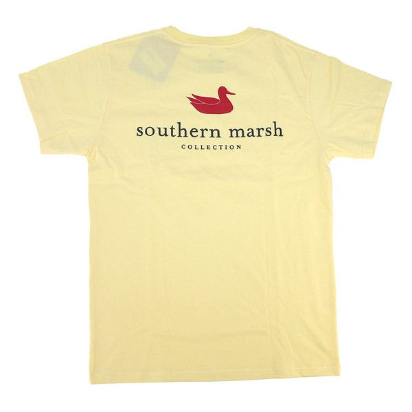 Southern Marsh Authentic Tee, Yellow ($32) ❤ liked on Polyvore featuring tops, t-shirts, beige top, yellow top, beige t shirt, yellow t shirt and yellow tee