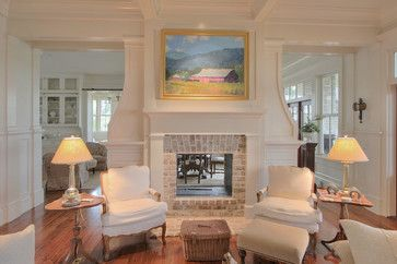 LIVING ROOM & FAMILY ROOM – Old Oyster Retreat - traditional - living room - charleston - Allison Ramsey Architects