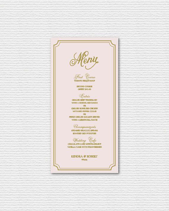 Menu Cards For Wedding Receptions: PRINTABLE Wedding Menu Card