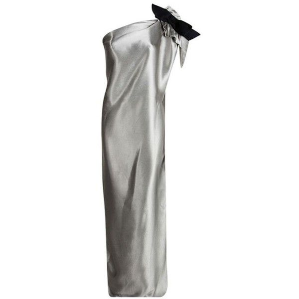 Lanvin Silver Satin Bow Detail One Shoulder Maxi Dress L ❤ liked on Polyvore featuring dresses, cocktail maxi dresses, silver cocktail dress, silver metallic dress, one shoulder cocktail dress and silver dress