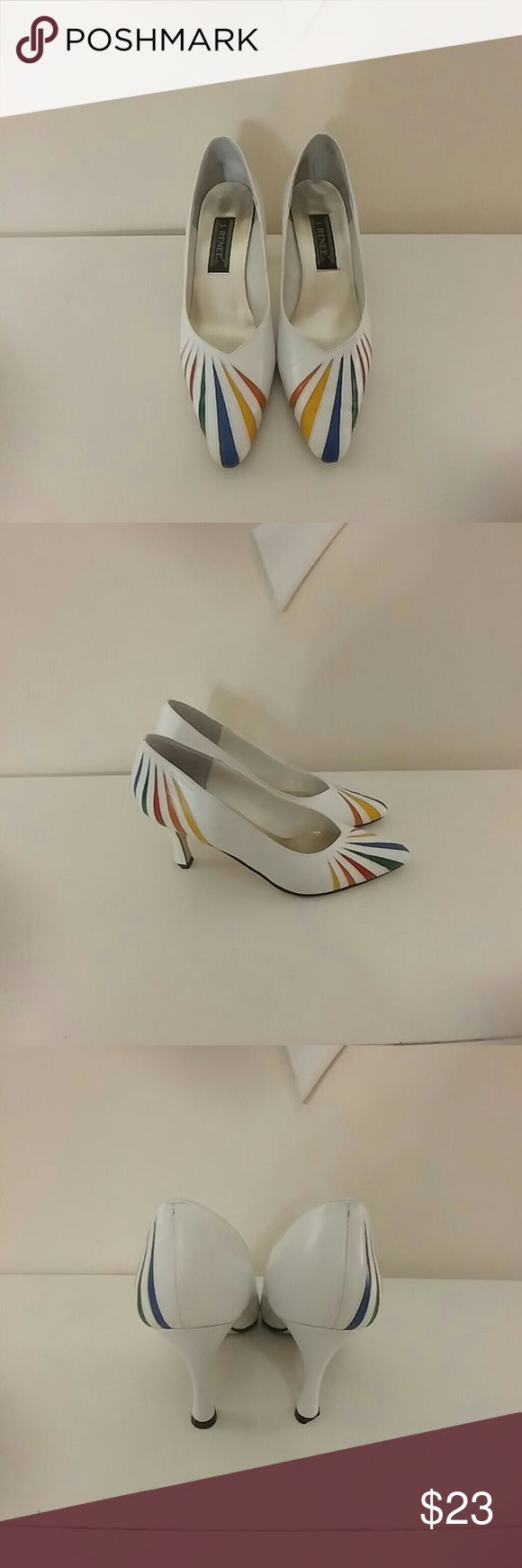 "Vintage unique abstract art rainbow pumps From j. Renee, utterly fabulous white pumps, 3""  heels, with slashes of rainbow colors, definitely statement shoes, one of the taps is chipped (pic 7) but it isn't brittle or loose, otherwise excellent condition!  Size 8.5.  These don't specify man-made or genuine leather, but i lean toward man-made.  These are quirky and fun, the style is totally classic and the colors pop Vintage Shoes Heels"