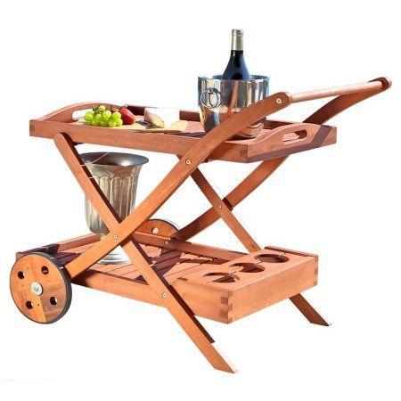 Eucalyptus Wood Serving Cart, Brown