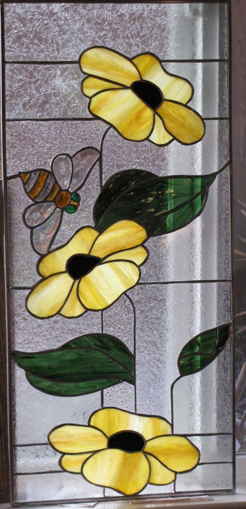 flowers and bee. Stained glass so pretty.
