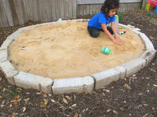 Interesting alternative to wooden sandbox and quicker to complete