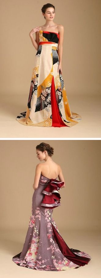 Watabe Wedding has createdShoen, acolorful collection ofkimono wedding dresses. Each weddingkimono is upcycled from a traditional furisode garment.