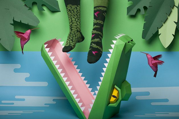 Socks – Crocodile Low Socks Many Mornings – a unique product by Many-Mornings on DaWanda