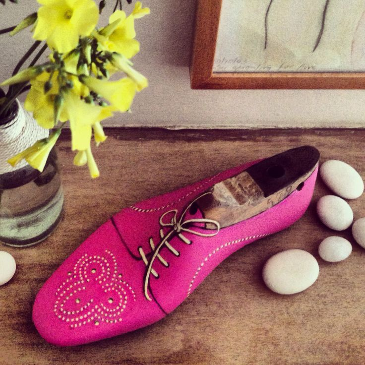 Painted Wooden Shoe Form in Pink!!! By Marianna Ksydia Mentzelopoulou