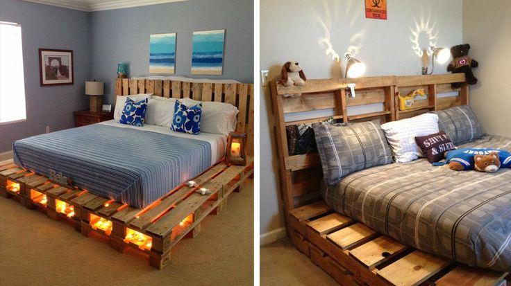 lit en palette de bois design