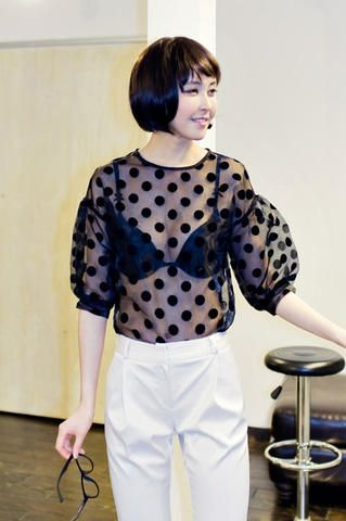 sheer polkadot blouse from Kakuu Basic. Saved to Kakuu Basic Tees & Tops. Shop more products from Kakuu Basic on Wanelo.
