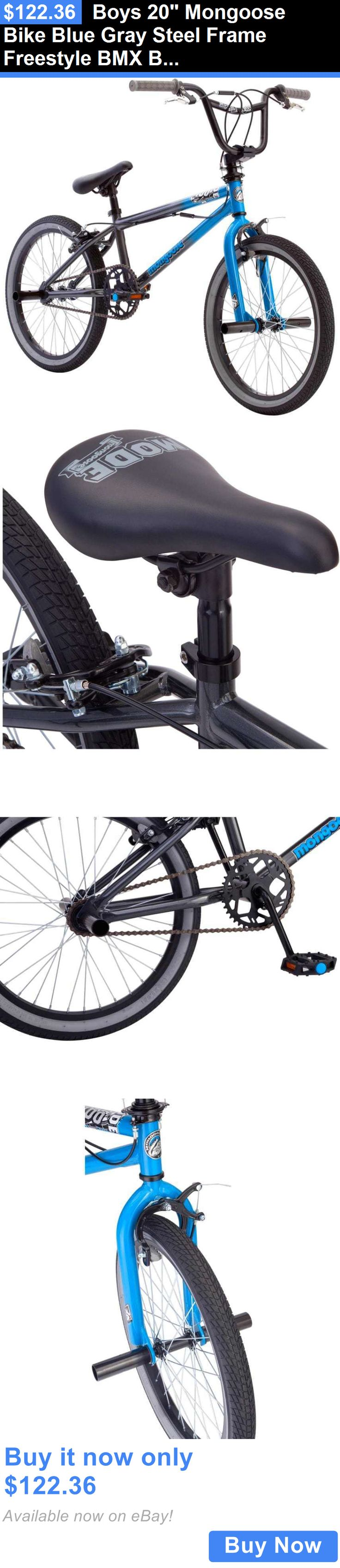 bicycles: Boys 20 Mongoose Bike Blue Gray Steel Frame Freestyle Bmx Bicycle Ride New BUY IT NOW ONLY: $122.36