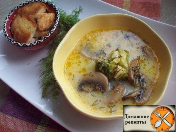 Сырный суп (с шампиньонами и брокколи)