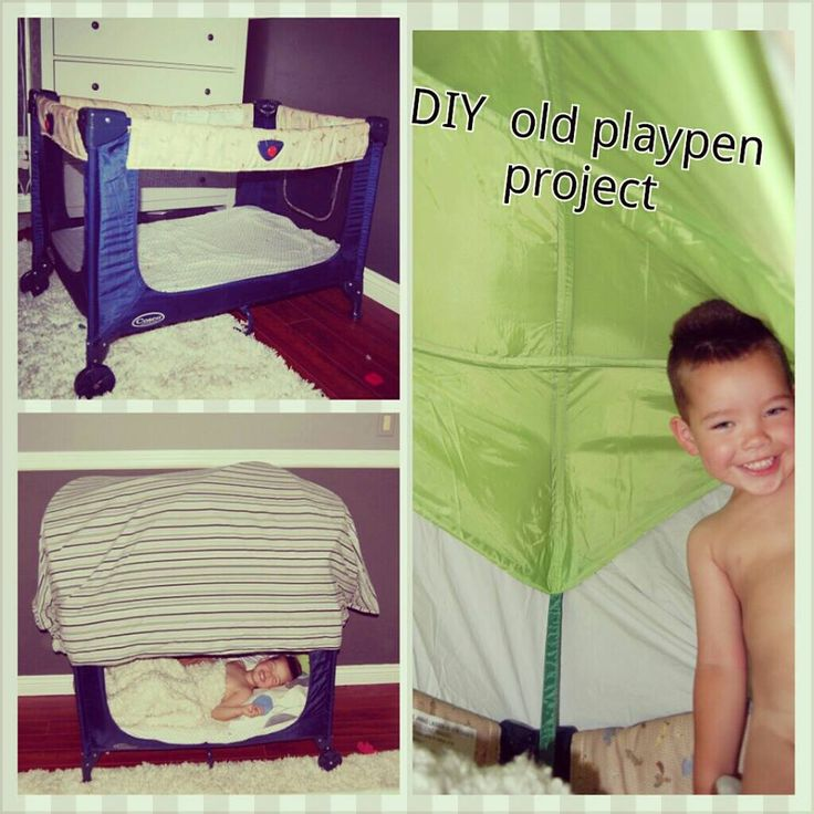"""Both my kids have out grown the playpen so we cut out the mesh on one side, inserted foam on bottom, added a ikea leaf inside to prop up sheet (can use crib mobile but i donated mine with the bedding) and it makes it more """"tent like"""" and now we have a toddler bed for him to sleep in while my sis is down here staying in his room BONUS my son loves it and thinks its so cool lol!!! looks smaller from out side but inside he can even stand in it lol - Tia Aelick"""