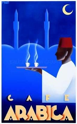 Vintage Cafe Arabica ad poster.  This would look great in my kitchen.