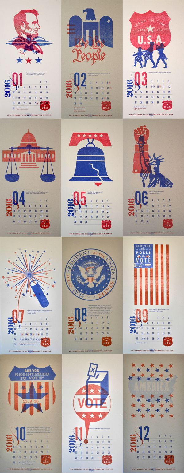 """Personal project: """"Democrazy 2016. A non-partisan reminder to vote in 2016."""" 12-month calendar to remind people to VOTE in the 58th…"""