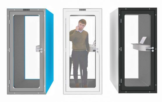 Decibel office phone booth privacy pod http://spaceworx.us/products/decibel-office-phone-booth/