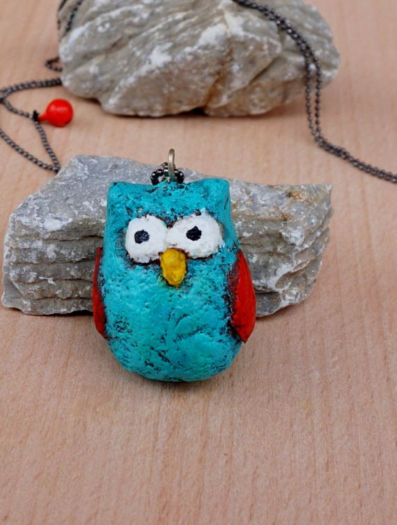 Owl paper mache necklace