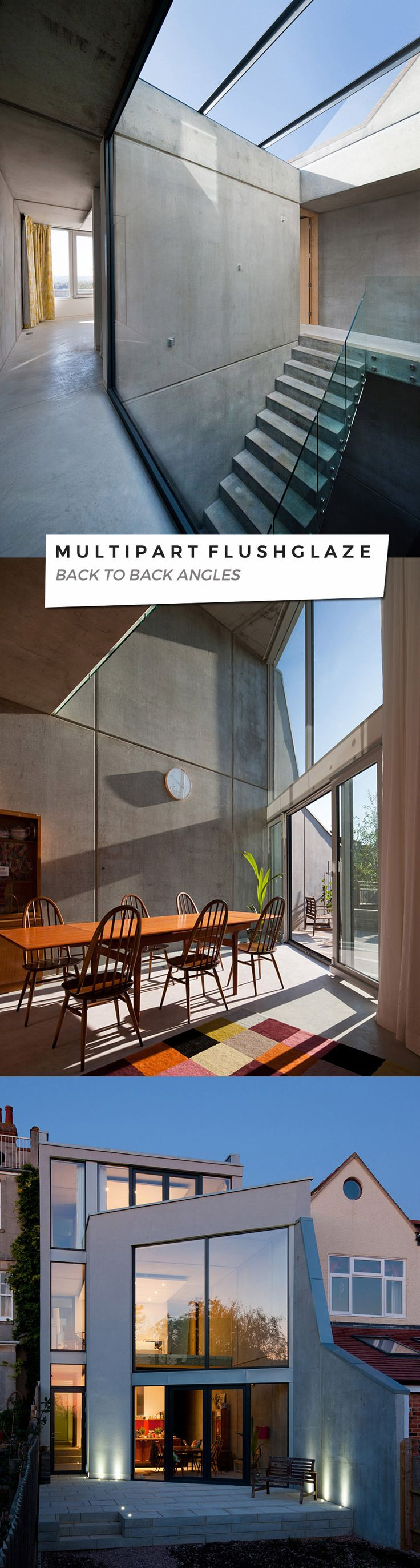 Flushglaze, the original flat roof glass rooflight supplied by Glazing Vision for the project featured on the cover of AJ May edition. Concrete House Adrian James Architects Oxford