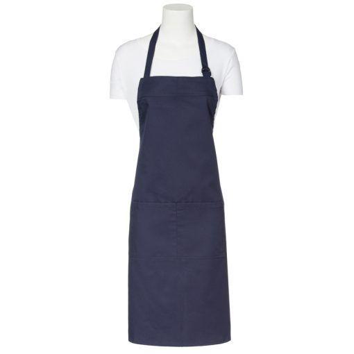 Delantal regulable de color azul marino. De 90cm de largo por 90 cm de ancho. Con una cinta del mismo color del tejido regulable mediante una hebilla en el cuello. Tiene un bolsillo de 20 cm de largo y 35 cm de ancho partido.  #delantal #peto #azul #marino #uniforme #cocina