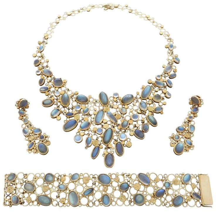 1960-1970 Ruckenbrod Modernist Labradorite Moonstone Gold Ensemble | From a unique collection of vintage more necklaces at https://www.1stdibs.com/jewelry/necklaces/more-necklaces/