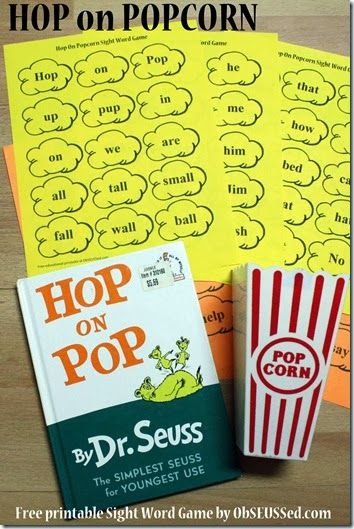 Hop on Popcorn Free Printable Sight Word Game