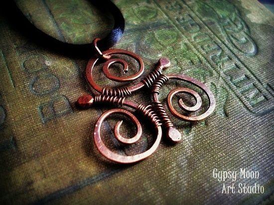 Copper Wire Jewelry | jewelry / Celtic Triskele copper wire wrapped pendant by GypsyMoonArt