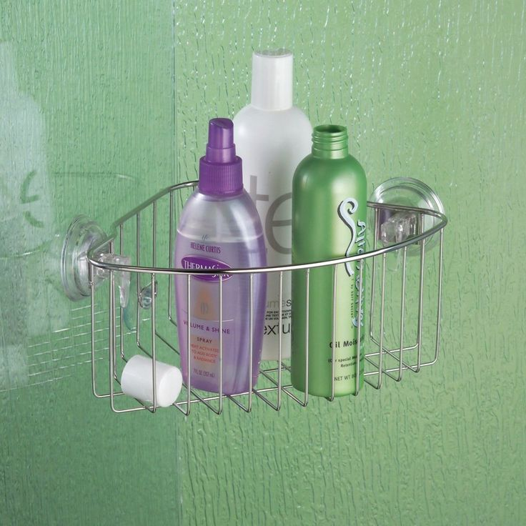 Charming InterDesign Reo Power Lock Suction, Corner Basket, Stainless Steel.  Organize Your Shower And