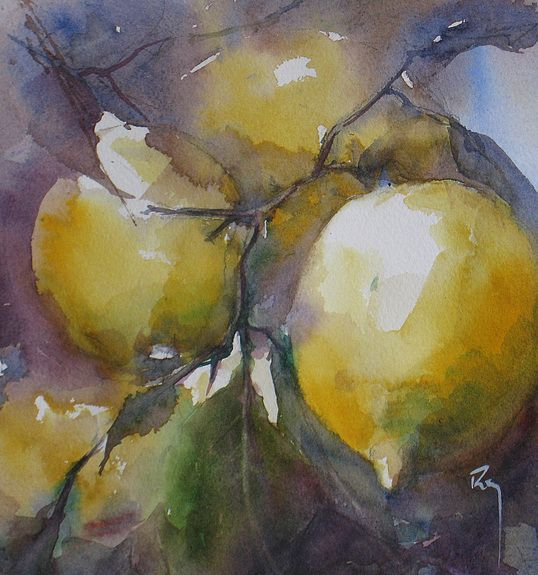 """Limões"" - Aguarela de Catherine Rey"