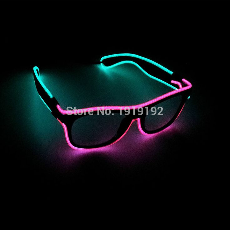 Handmade Double colors Glasses Sound Activated Glowing EL Wire Powered By DC-3V Popular Neon Cold Light Tube Discos Party Decor