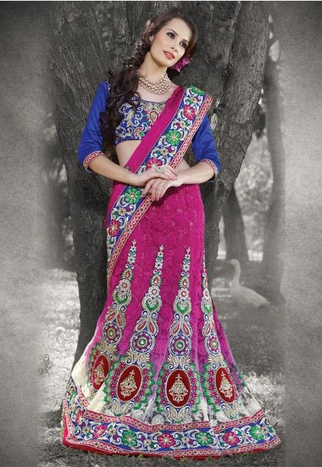 Pink Embroidered Net,Jacquard & Faux Georgette Party Wear Lehenga Saree