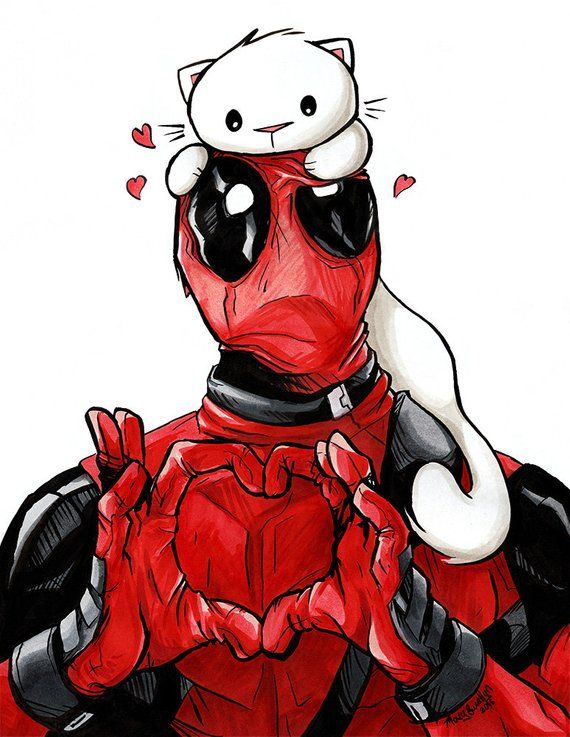 Deadpool Kitty Art Print 8.5×11″ Cat Marvel Comic Art for Nerds and Geeks