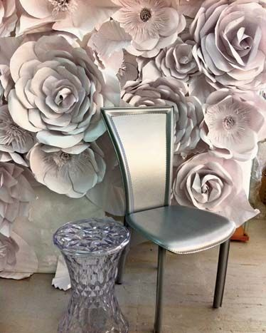 A gorgeous monochromatic paper flower backdrop by Ruth Fischi by Kate Matee