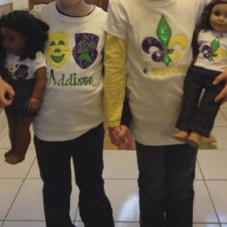 Design A Latte Monogramming designed the perfect matching American girl and Little latte shirts perfect for Mardi Gras