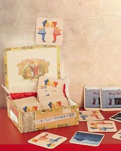 """Memory-Spiel    Zeitaufwand: 2-3 Stunden  Schwierigkeitsgrad: einfach    Das brauchen Sie: 60 #Bierdeckel """"küss mich küss dich"""", 30 Stück, 4,95 Euro (z. B über www.familievonquast.de), Fotos (jeweils zwei Abzüge!), Kleber, bunte Zigarrenkiste (z. B. vom Zigarrenhändler)    So geht's: Fotos im Format der Bierdeckel ausschneiden und aufkleben. In der Kiste dekorieren. Fertig."""