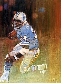 Earl Campbell, Houston Oilers. Painting by Bernie Fuchs.