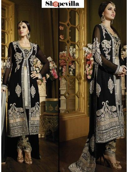 Black Grey Colour Georgette & Label Shimmer Straight Cut Churidar Style Suit-SYB-48