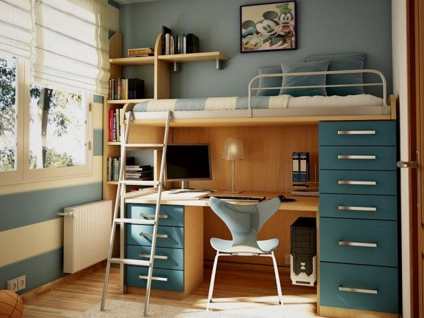 Bedding, Loft bed with desk and couch blue nautical bedroom theme wooden bunk bed furniture metal side rail single bed size mickey mouse wall art decor file cabinet storage rack bunk bed with desk for teens: Modern Cool Loft Bed with Desk and Couch
